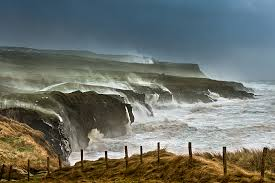 Waves battering Cliffs
